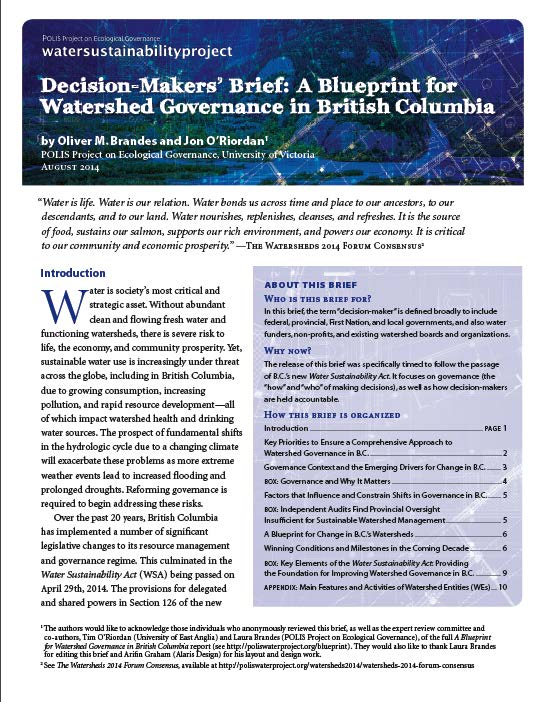 Decision makers brief a blueprint for watershed governance in bc decision makers brief a blueprint for watershed governance in bc malvernweather Choice Image